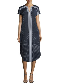 St. John Dot-Print Crepe de Chine Shirttail Dress