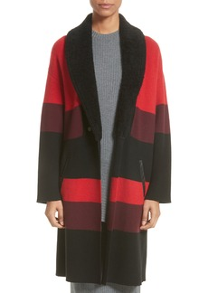 St. John Collection Double Knit Felted Wool Blend Coat with Genuine Shearling Collar