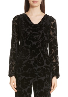 St. John Collection Drape Neck Burnout Velvet Blouse