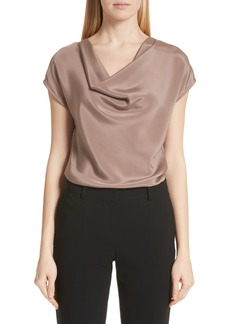 St. John Collection Drape Neck Stretch Crêpe de Chine Blouse