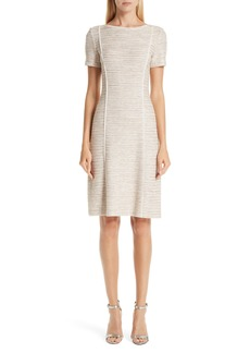 St. John Collection Dune Inlay Knit Sheath Dress