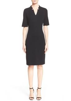 St. John Collection Elbow Sleeve Piqué Milano Knit Dress