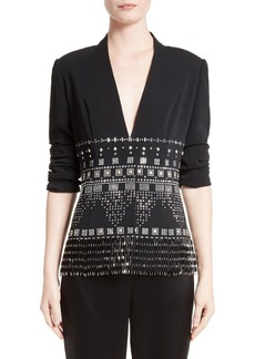St. John Collection Embellished Classic Stretch Cady Jacket
