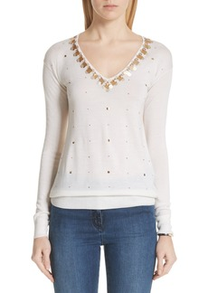 St. John Collection Embellished Wool, Silk & Cashmere Sweater