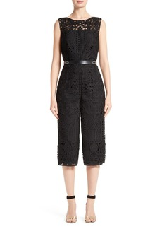 St. John Collection Embroidered Lace Jumpsuit