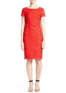 St. John Collection Embroidered Lace Sheath Dress