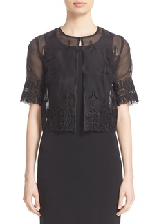 St. John Collection Embroidered Silk Organza Jacket