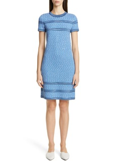St. John Collection Engineered Coastal Texture Tweed Knit Dress