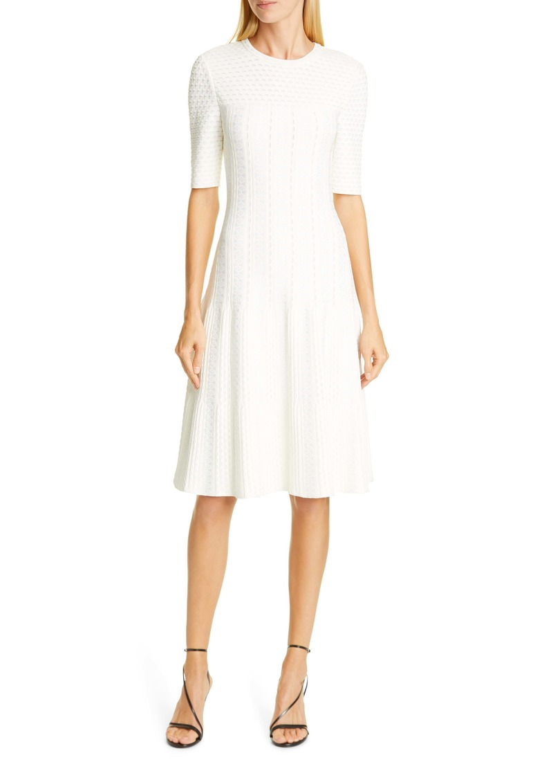St. John Collection Engineered Lace Jacquard Sweater Dress