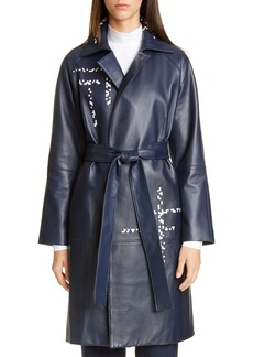 St. John Collection Engineered Lattice Leather Trench Coat