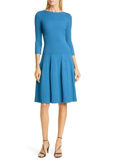St. John Collection Engineered Rib Fit & Flare Sweater Dress