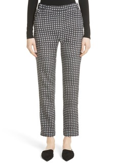 St. John Collection Etched Grid Print Stretch Silk Pants
