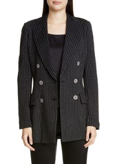 St. John Collection Evening Paillette Pinstripe Double Breasted Blazer