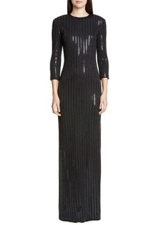 St. John Collection Evening Paillette Pinstripe Gown