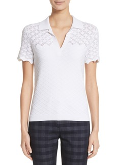 St. John Collection Eyelet Knit Polo