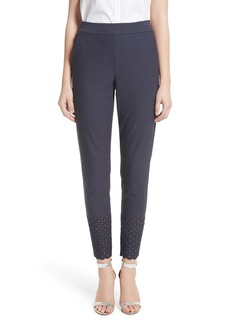 St. John Collection Eyelet Trim Stretch Twill Crop Pants