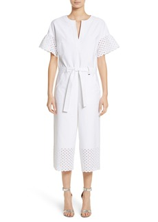 St. John Collection Eyelet Trim Stretch Twill Jumpsuit