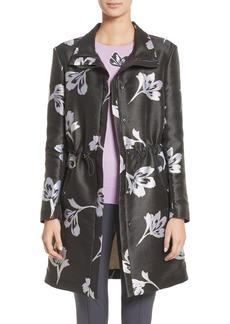 St. John Collection Falling Flower Jacquard Coat