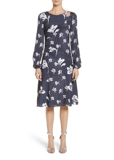 St. John Collection Falling Flower Print Stretch Silk Dress