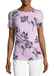 St. John Falling Flower Ruched Short-Sleeve Top