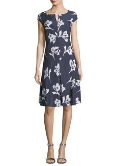 St. John Falling Flower Short-Sleeve Silk Dress