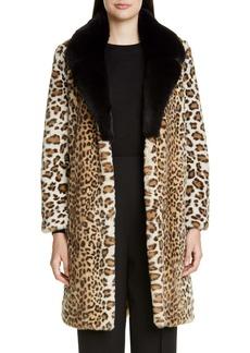 St. John Collection Faux Ocelot Fur Coat