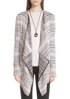 St. John Collection Flagged Woven Stripe Cardigan