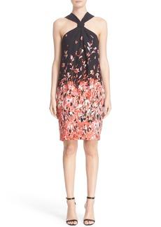 St. John Collection Flamingo Dégradé Print Silk Halter Dress