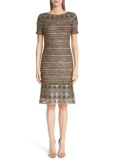 St. John Collection Flashy Gold Stripe Knit Dress