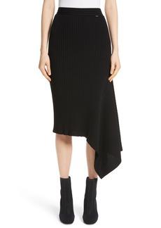 St. John Collection Flat Rib Knit Asymmetrical Skirt