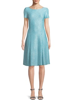 St. John Flecked Sparkle Sequin Knit Fit-and-Flare Dress