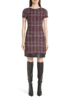St. John Collection Flecked Textures Plaid Knit Dress