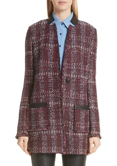 St. John Collection Flecked Textures Plaid Knit Jacket