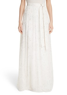 St. John Collection Flocked Glitter Crinkle Chiffon Skirt