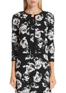 St. John Collection Floral Blister Knit Cardigan
