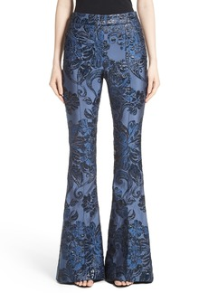 St. John Collection Floral Brocade Flare Pants