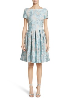 St. John Collection Floral Fil Coupé Organza Dress