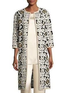 St. John Collection Floral Fringe Embroidered Tulle 3/4-Sleeve Jacket