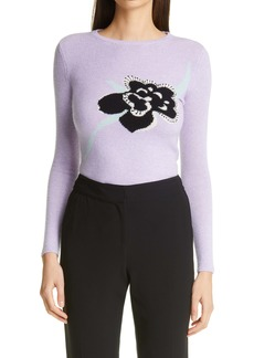 St. John Collection Floral Intarsia Knit Cashmere Sweater