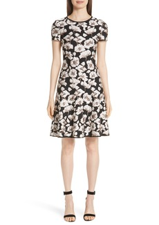 St. John Collection Floral Jacquard Fit & Flare Dress