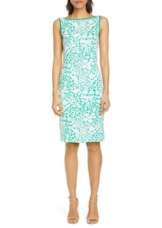 St. John Collection Floral Jacquard Sweater Dress