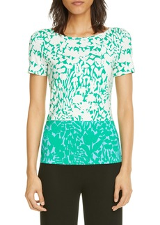 St. John Collection Floral Markings Print Jersey Top