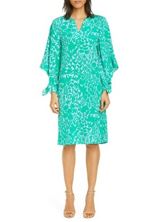 St. John Collection Floral Markings Print Stretch Crepe Dress