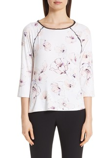 St. John Collection Floral Print Silk Top