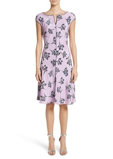 St. John Collection Floral Print Stretch Silk Dress
