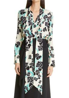 St. John Collection Floral Print Tie Neck Silk Blouse