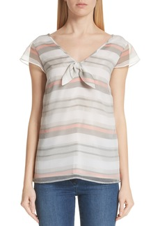 St. John Collection Flutter Sleeve Stripe Organza Blouse