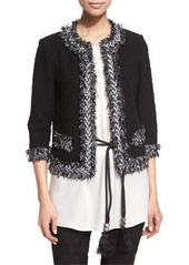 St. John Collection Fringe-Trim Boucle Knit Jacket