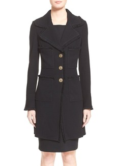 St. John Collection Fringe Trim Milano Piqué Knit Coat