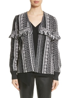 St. John Collection Fringe Vertical Ombré Stripe Tweed Knit Jacket